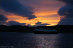 Sunset with a Caledonian MacBrayne ferry coming into Oban