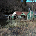 Boat houses on Loch ard
