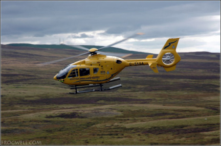 Scottish air ambulance removes a biker from the A924 above Pitlochry