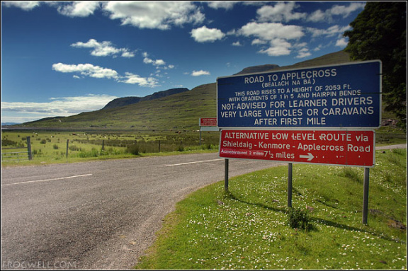 Warning for the road to Applecross.