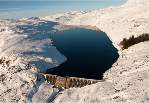 Loch Lednock dam from the air