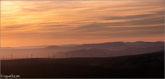 Braes of Doune windfarm seen from above the Langside