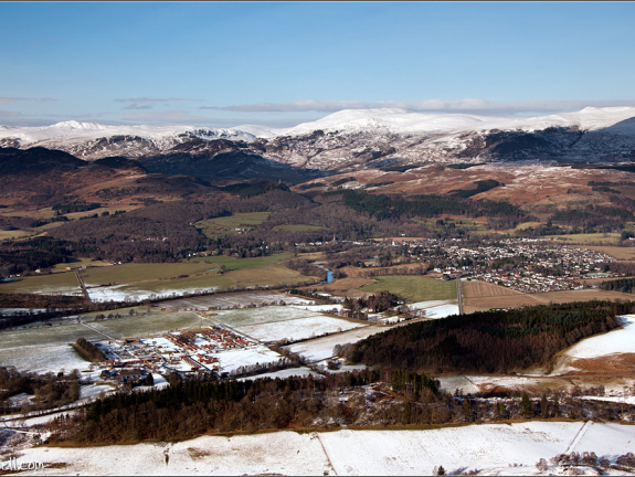 Cultybraggaen camp and Comrie from the air