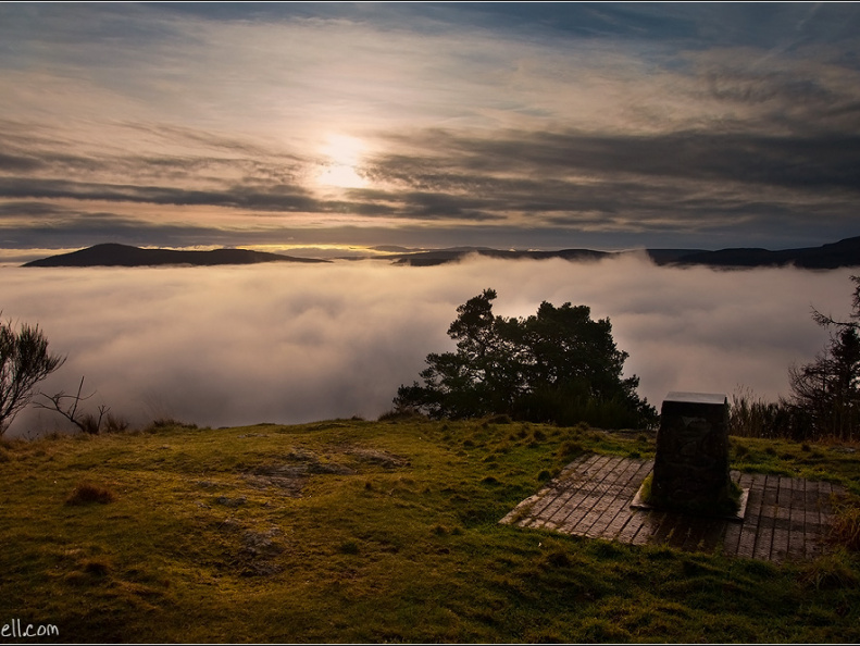 Cloud inversion over Comrie from Melvilles Monument