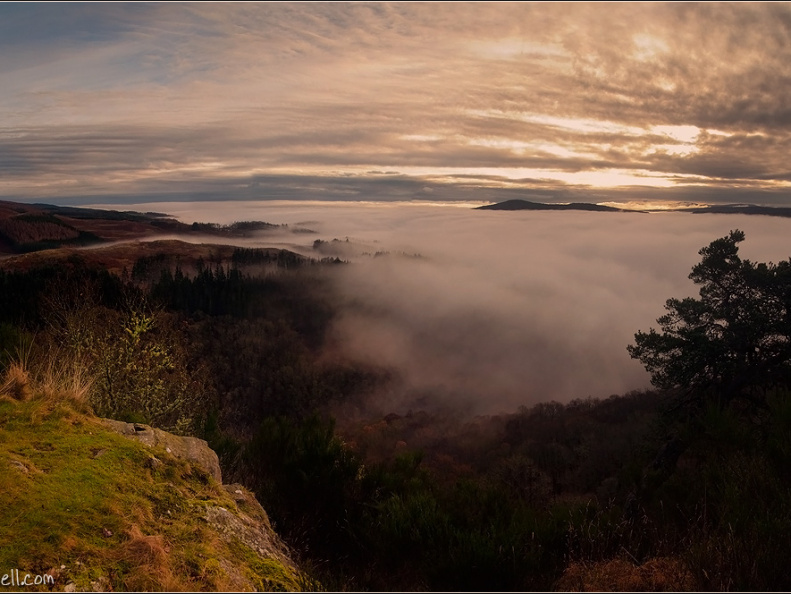 Cloud inversion over Strathtay from Melville Monument